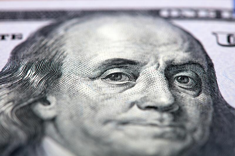 One Hundred Dollars. Benjamin Franklin portrait. USD, The United States currency.  royalty free stock photography
