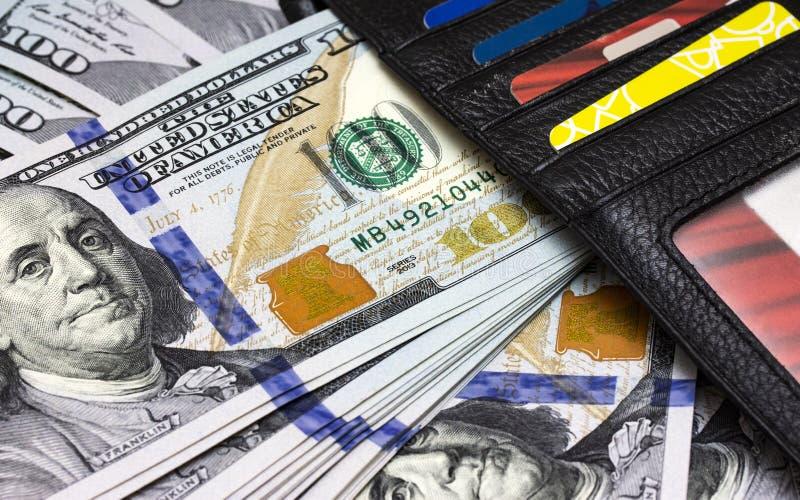 One hundred dollars bill macro close up stock image