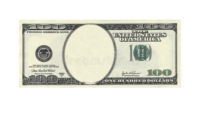One hundred dollars bill with no face on white stock images