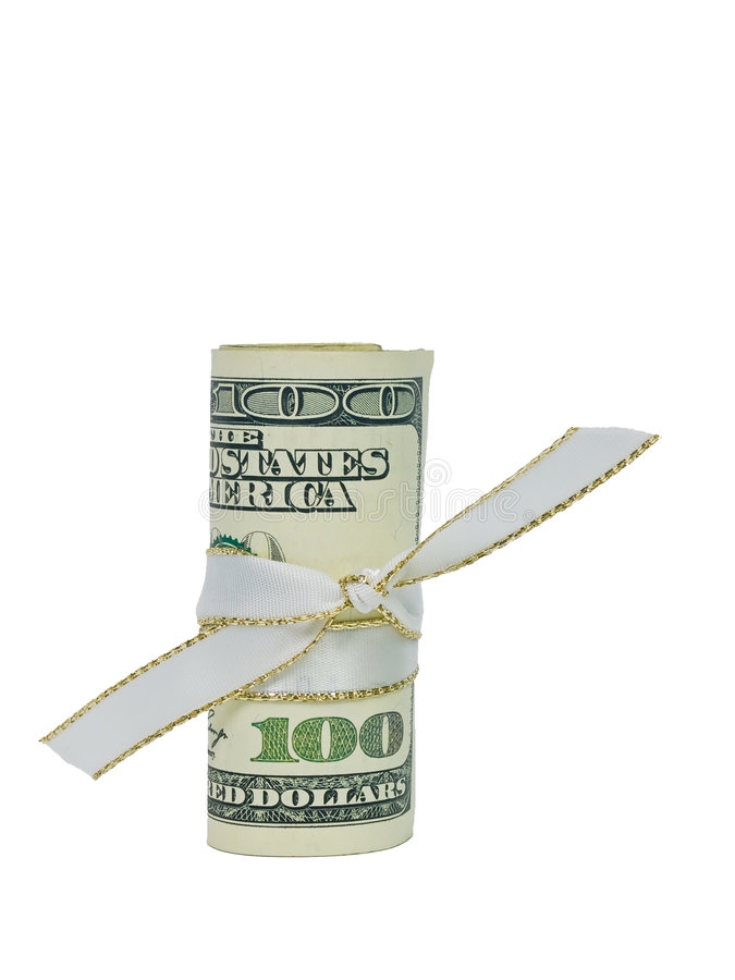 Download One Hundred Dollars Cash Rolled With A Ribbon Stock Photo - Image: 8624678