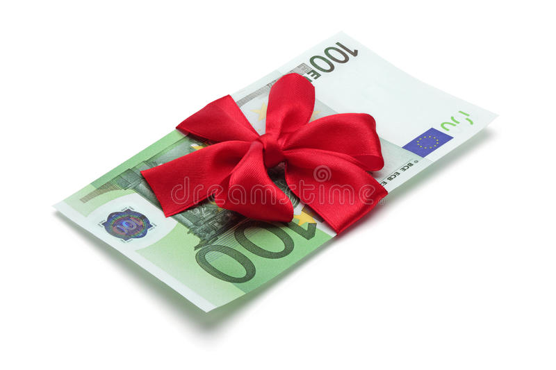 One Hundred Euro Banknote With Red Bow. Royalty Free Stock Photo