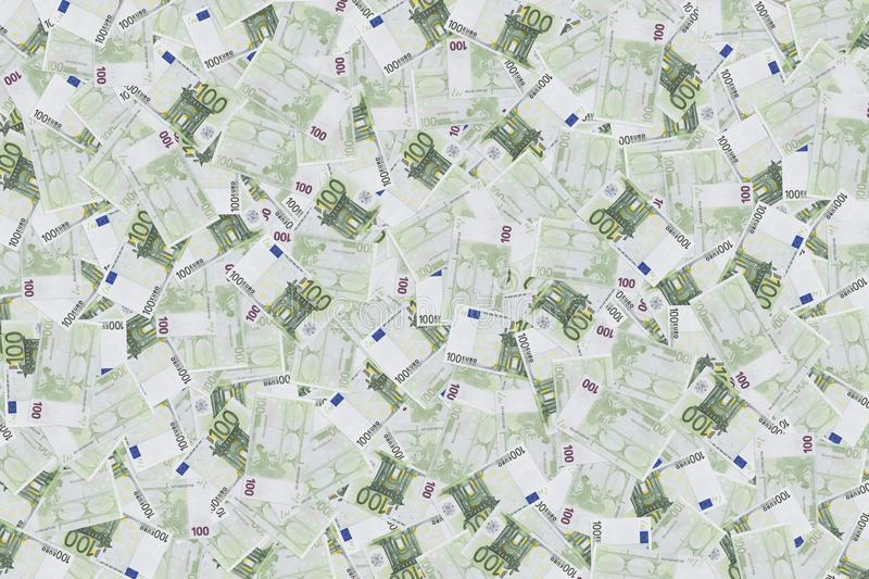 One hundred euro banknote texture background. background of banknotes in 100 euros. Money texture. European currency. The wealth. Of a millionaire stock image
