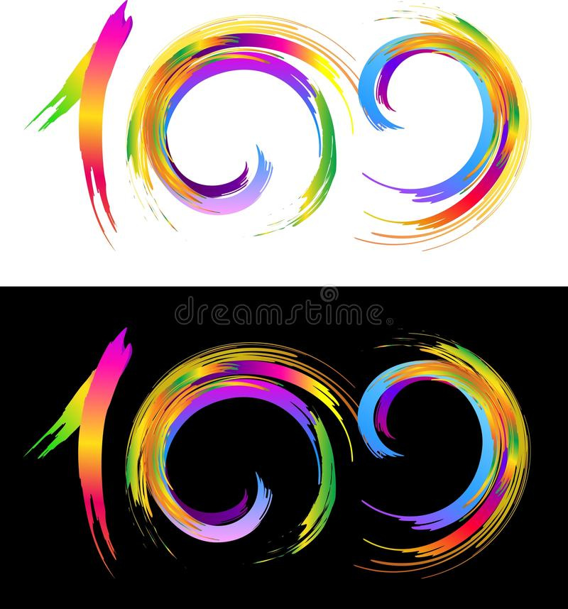 One Hundred Logo. Illustration representing one hundred number in abstract brush raimbow colours royalty free illustration