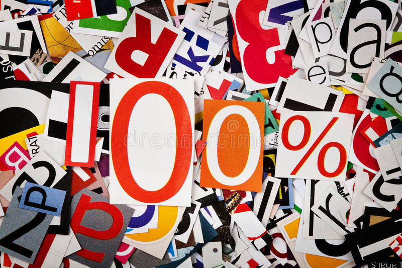 One Hundred Percent Stock Image