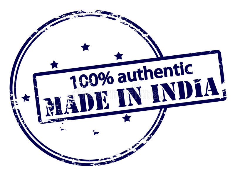 One hundred percent authentic made in India. Rubber stamp with text one hundred percent authentic made in India inside, illustration stock illustration