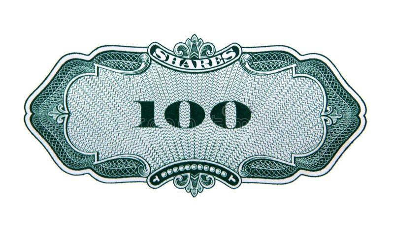 One hundred shares decorative element. One hundred shares guilloche decorative element isolated on white background royalty free stock photos