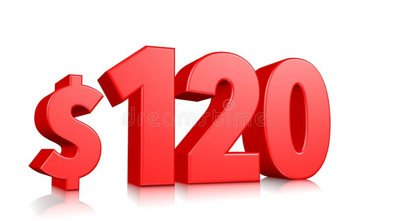 120$ One hundred and twenty price symbol. red text 3d  render with dollar sign on white background vector illustration