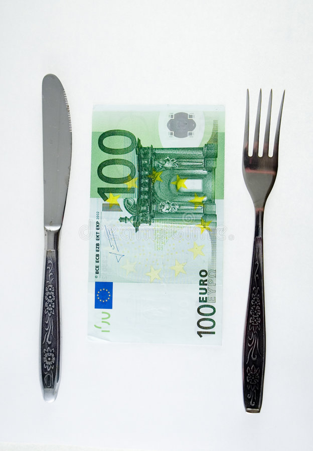 One hundret euro meal stock photography
