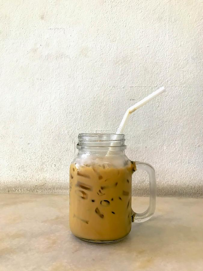 A iced espresso on table royalty free stock photography