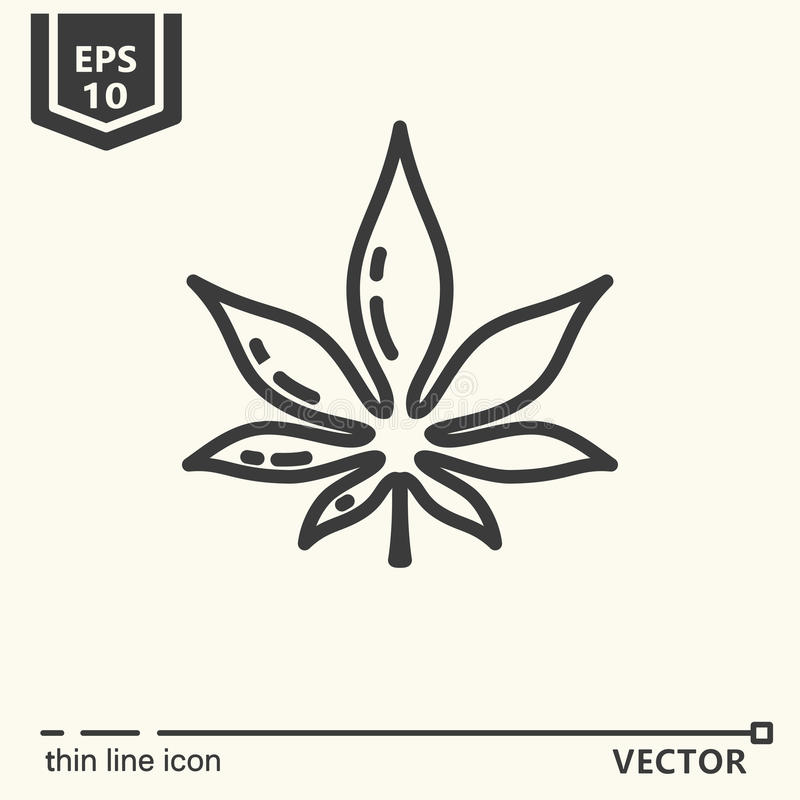 One icon - cannabis. Thin line icon - cannabis. EPS 10 object stock illustration