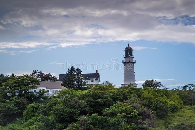 Two Light State Park in Cape Elizabeth, Maine. One of the iconic lighthouse of southern Maine in Cape Elizabeth royalty free stock images