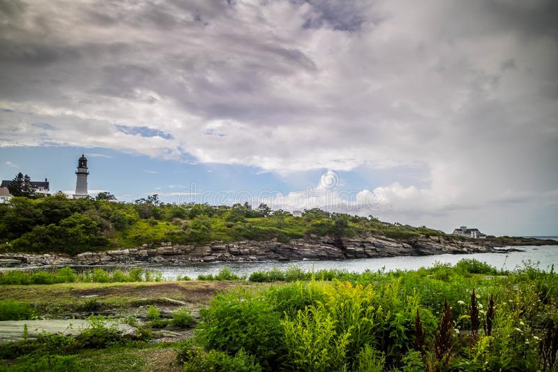 Two Light State Park in Cape Elizabeth, Maine. One of the iconic lighthouse of southern Maine in Cape Elizabeth stock images
