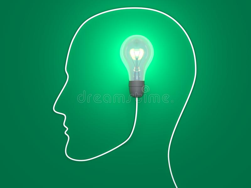 One idea in human mind stock illustration
