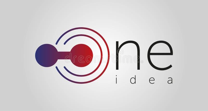 One Idea logo, one icon, one line vector illustration isolated on white background royalty free illustration