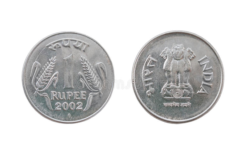 One Indian Rupee coin royalty free stock image