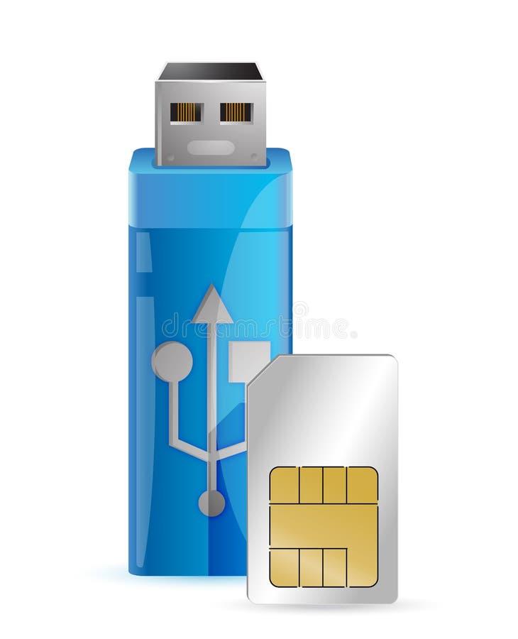 One internet key with a sim card stock illustration
