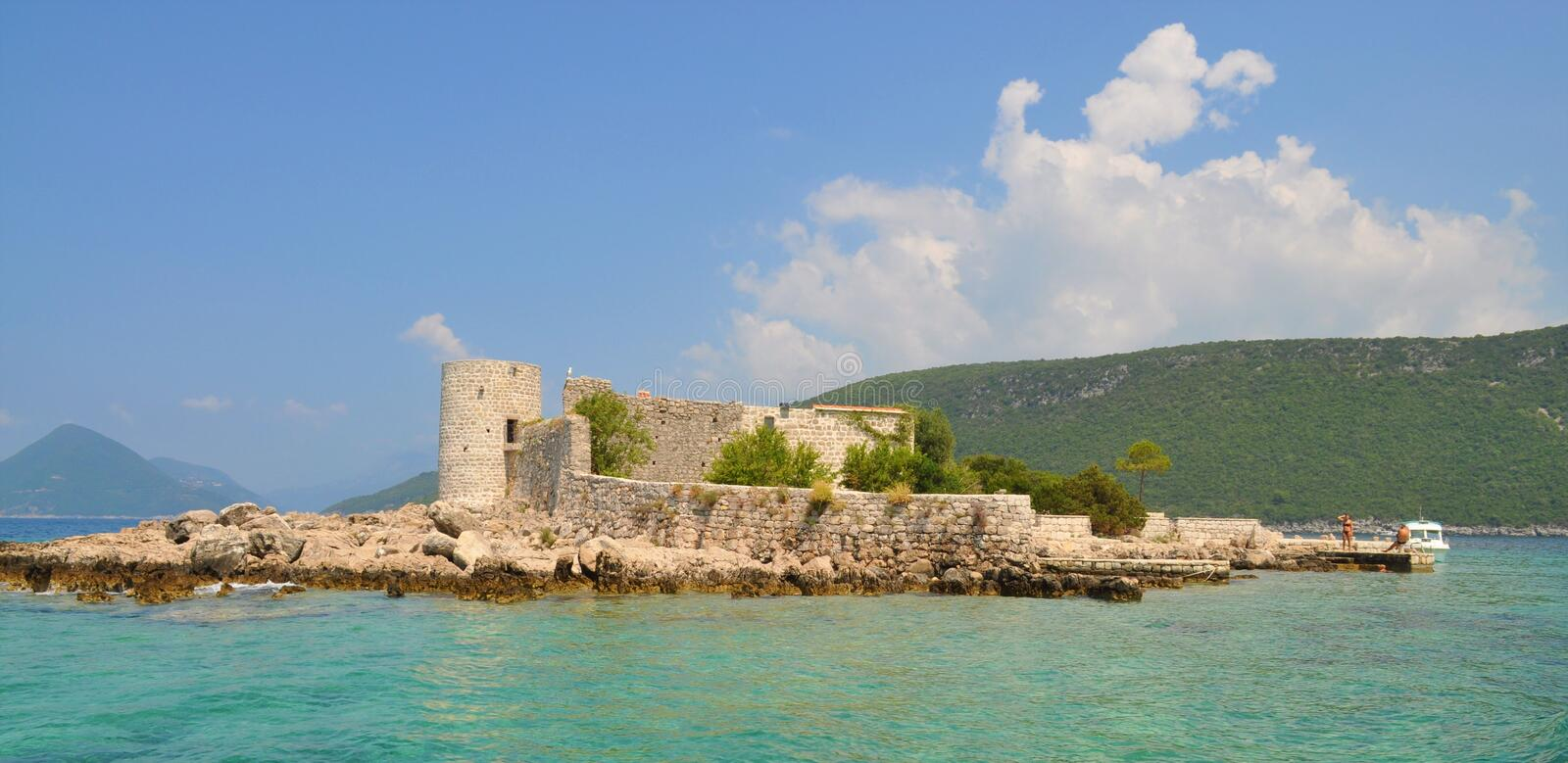 One island with Monastery and church stock photo