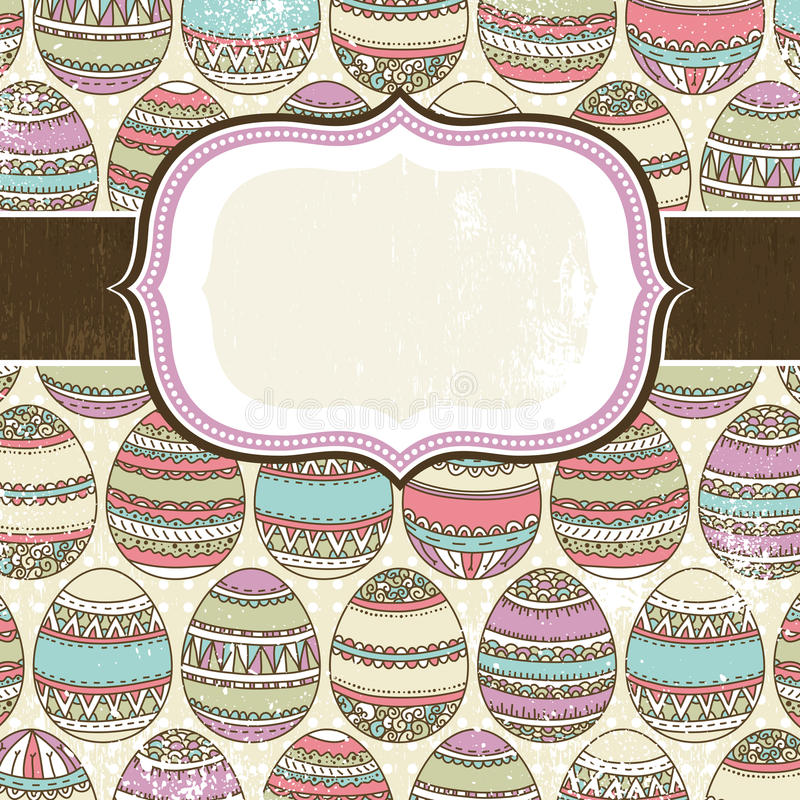 One label over background of many easter eggs stock illustration
