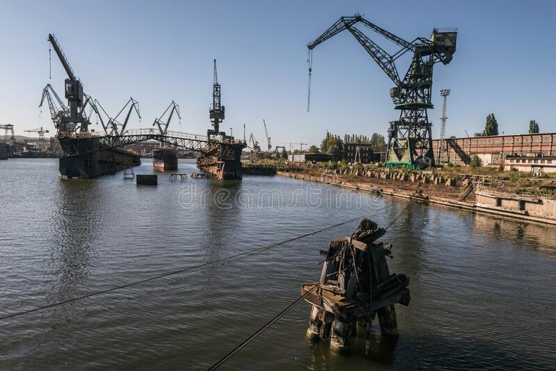 One of the largest Polish shipyards, located in Gdask on the left bank of the Martwa Wisa and Ostrow in Poland.  royalty free stock photo