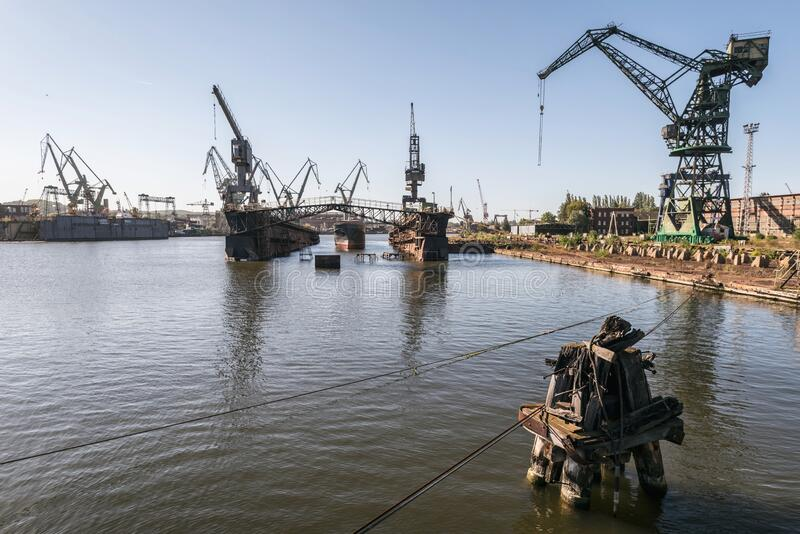 One of the largest Polish shipyards, located in Gdask on the left bank of the Martwa Wisa and Ostrow in Poland. Lech Walesa stock images