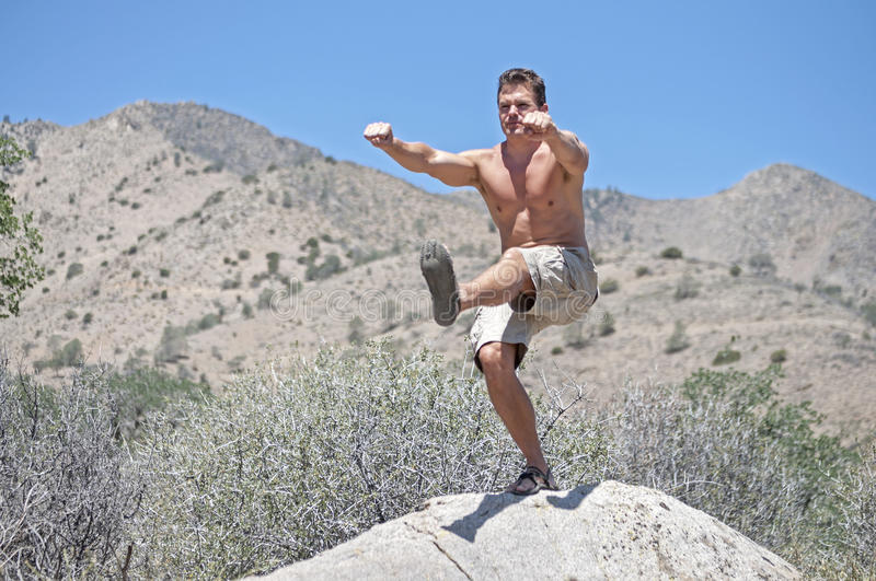 One-legged air squat. Muscular shirtless Caucasian man performs one-legged air squat while standing on boulder in rural outdoor mountainous scene royalty free stock image