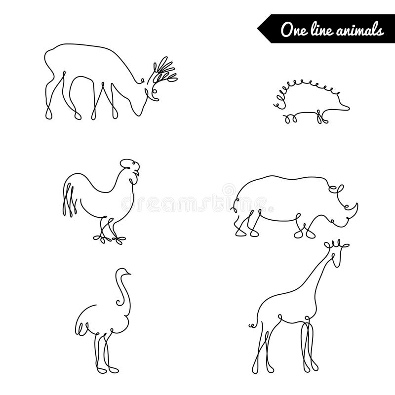 Vector Drawing Lines Xbox One : One line animals set logos vector stock illustration with
