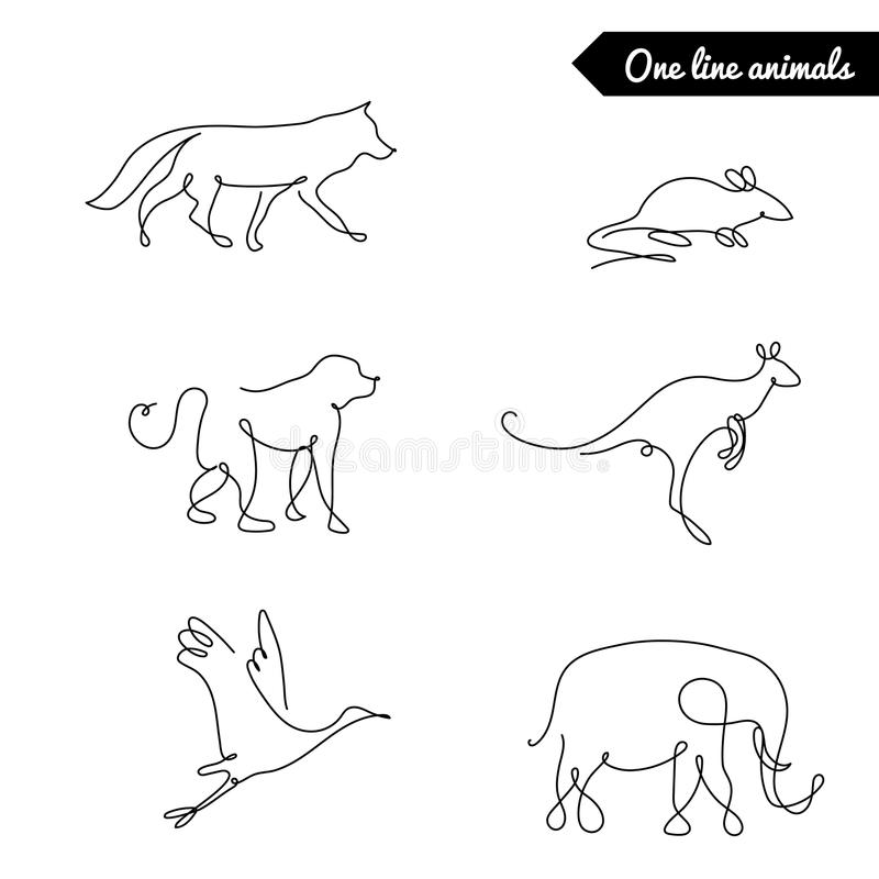 Vector Line Art Animals : One line animals set logos vector stock illustration with