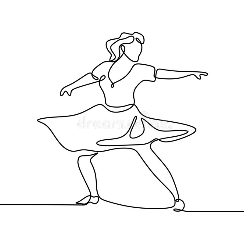 One line art, Drawing of a young girl dancing, wearing dress, vector illustration. Isolated, woman, person, linear, people, sketch, happy, concept, continuous royalty free illustration