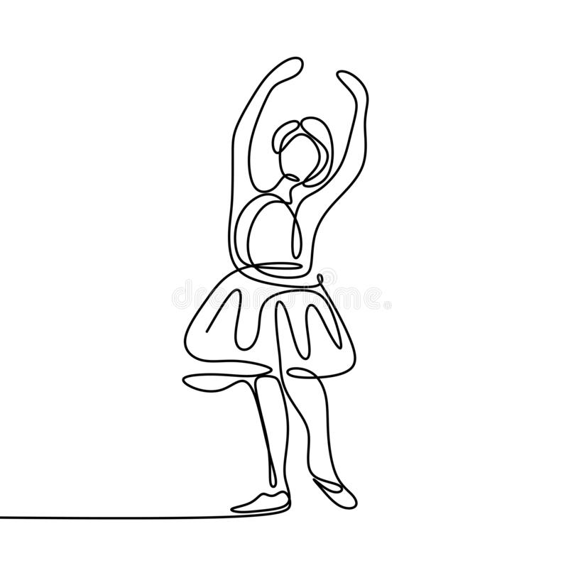 One line art, Drawing of a young girl dancing, wearing dress, vector illustration. Isolated, woman, person, linear, people, sketch, happy, concept, continuous vector illustration