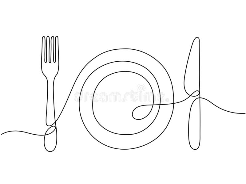 One line art. Plate knife, fork continuous outline drawing. Decoration for cafe or kitchen, restaurant or menu. Cutlery royalty free illustration