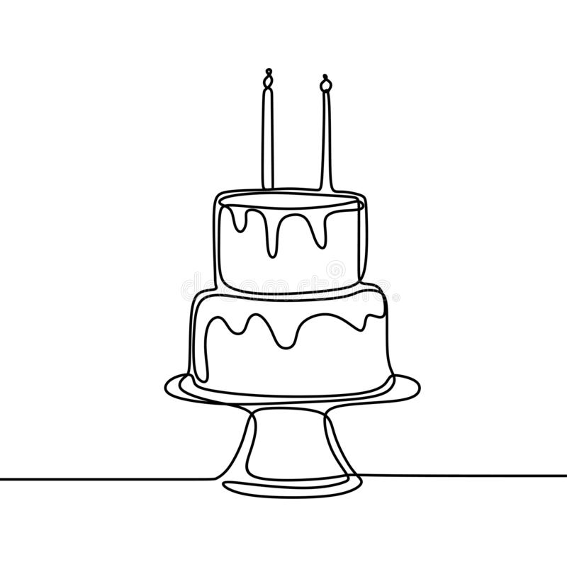 One line birthday cake with candle minimalist design banner vector illustration isolated on white background for celebration royalty free illustration