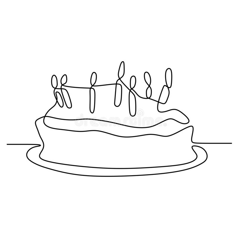 One line birthday cake with candle minimalist design banner vector illustration isolated on white background for celebration. Moment, party, food, dessert stock illustration
