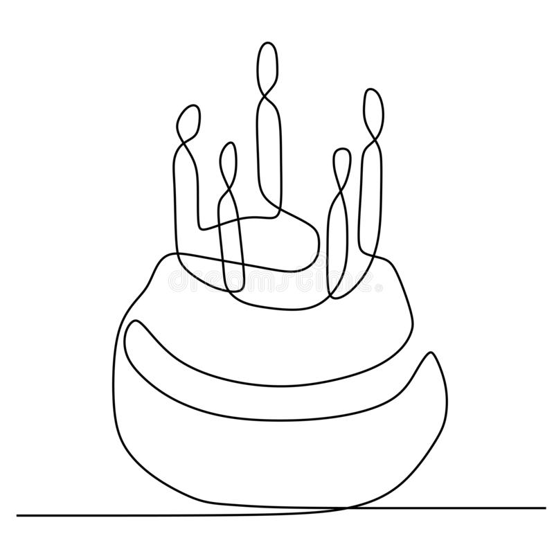 One line birthday cake with candle minimalist design banner vector illustration isolated on white background for celebration. Moment, party, food, dessert royalty free illustration