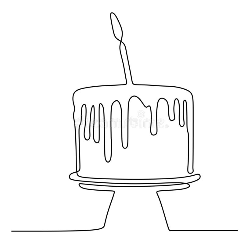 One line birthday cake with candle minimalist design banner vector illustration isolated on white background for celebration. Moment, party, food, dessert vector illustration