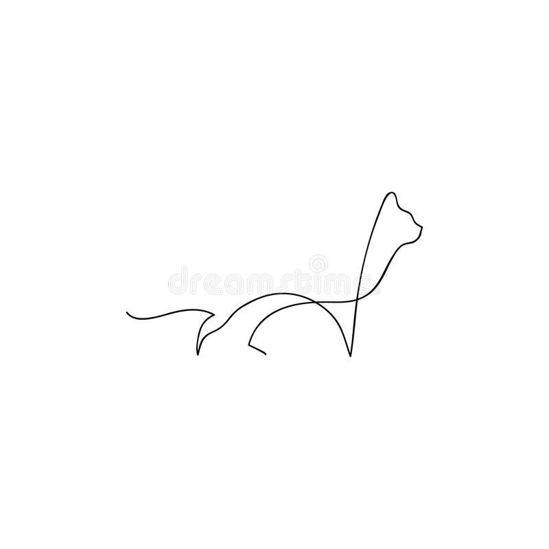 One Line Design : One line cat design silhouette hand drawn vector