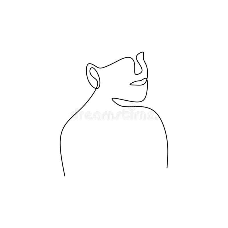 one line continuous drawing of face abstract minimalist design vector illustration