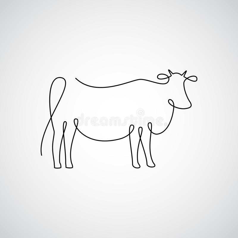 One line cow vector illustration
