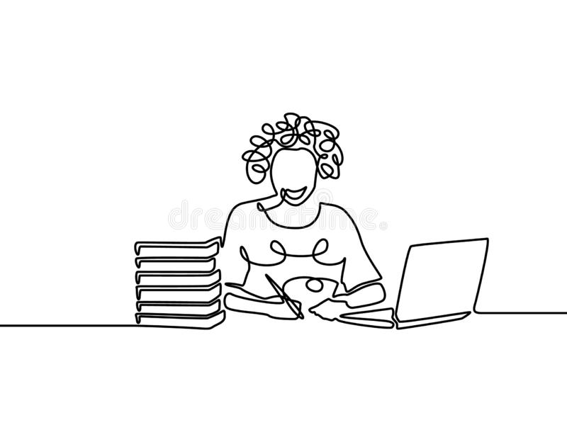 One line curly girl writing and study with help laptop. E-learning concept vector illustration