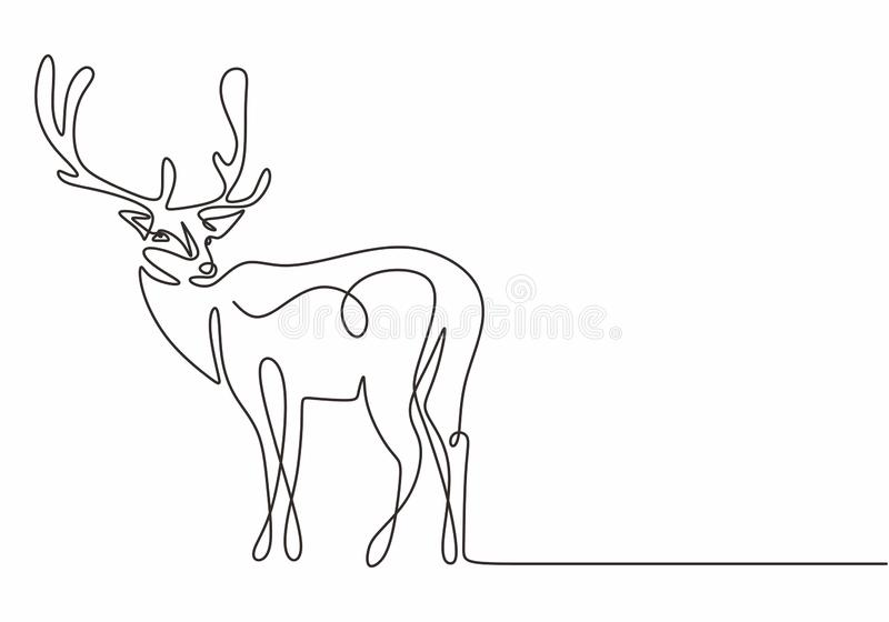 One Line Design Silhouette Of Deer Continuous Hand Drawn Minimalism Style Vector Illustration Stock Vector Illustration Of Vector Logo 162879601