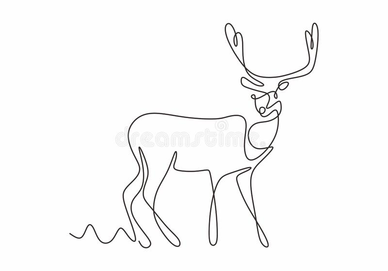 One line design silhouette of deer. Hand drawn single continuous line minimalism style. Vector illustration vector illustration