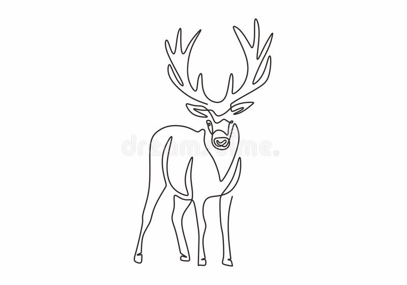 One line design silhouette of deer. Hand drawn single continuous line minimalism style. Vector illustration royalty free illustration