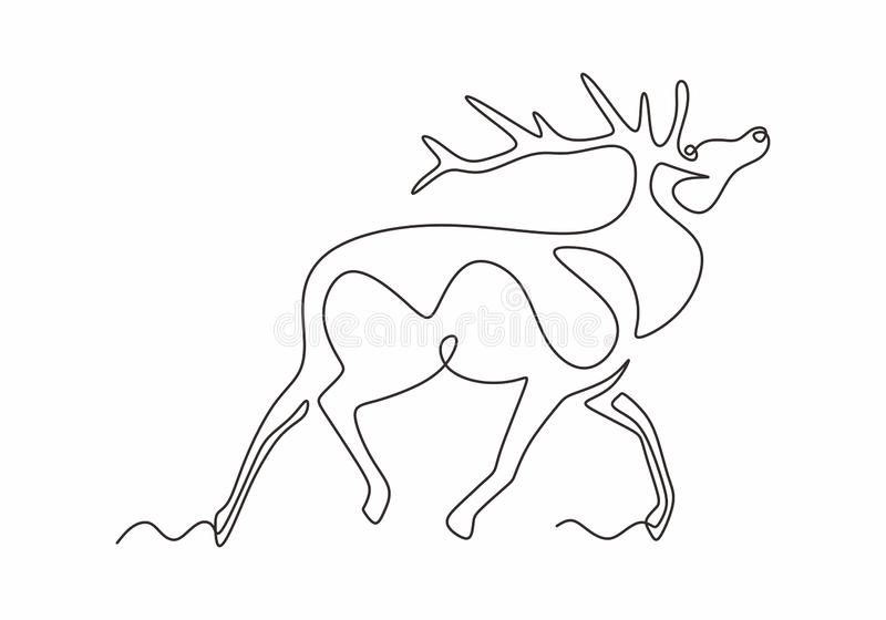 One line design silhouette of deer. Reindeer animal winter hand drawn single continuous line minimalism style. Vector illustration vector illustration