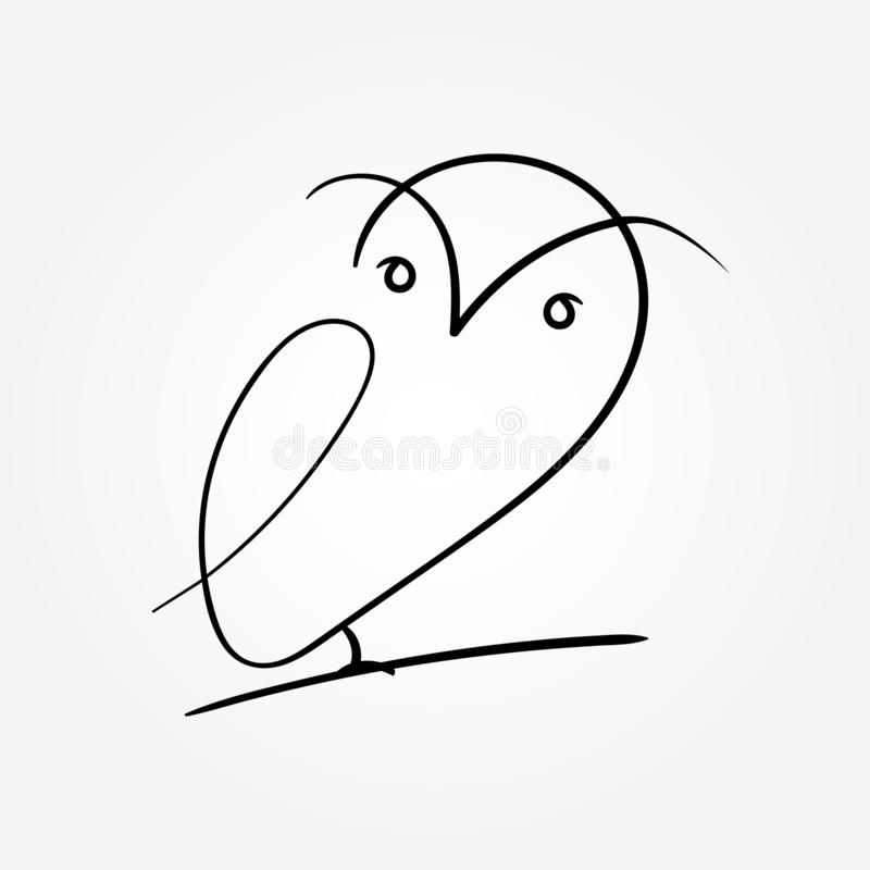 One line design silhouette of owl.hand drawn minimalism style.vector illustration - Vector vector illustration