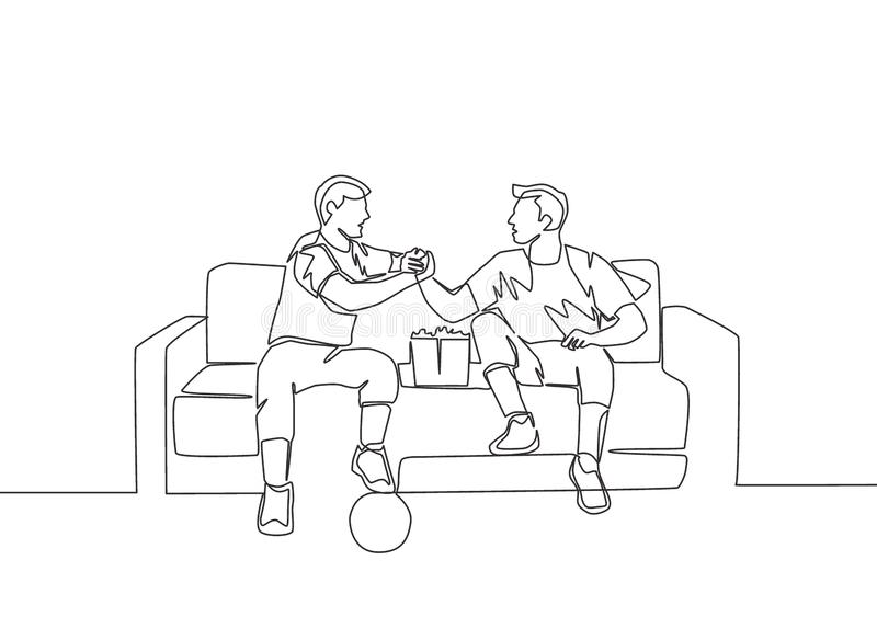 One line draw of two young man handshaking and sitting on a couch to watch football match royalty free illustration
