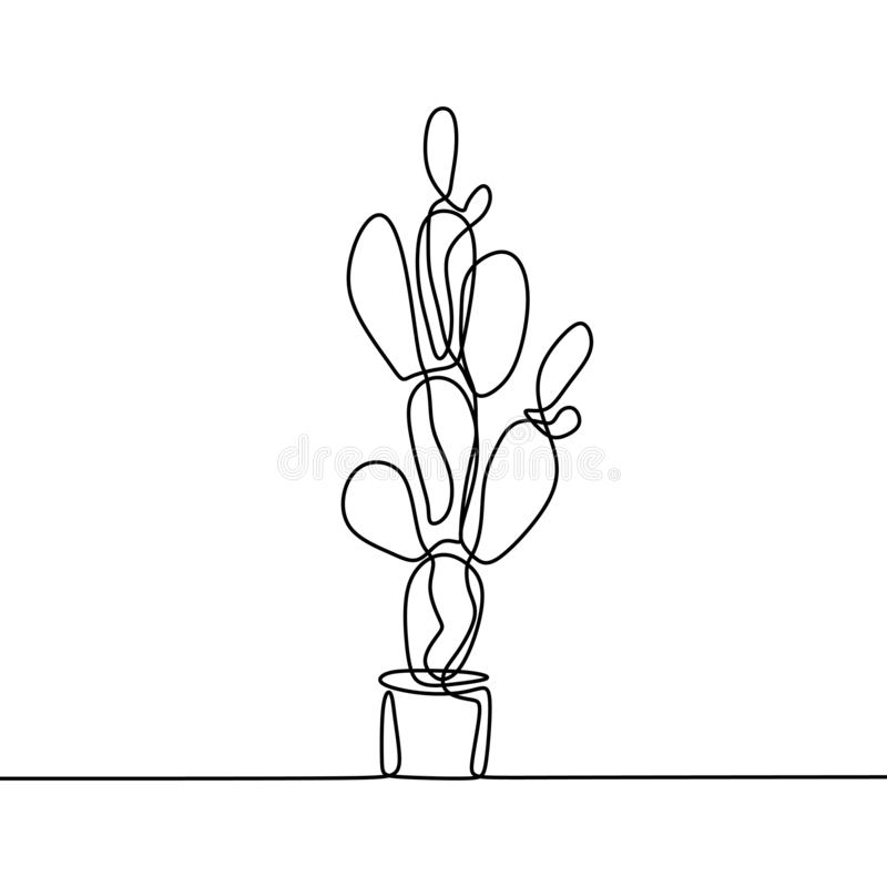 One line drawing of cactus isolated on white background. Graphic botanical art icon vector cacti design flora plant illustration simple doodle thorn summer royalty free stock photo