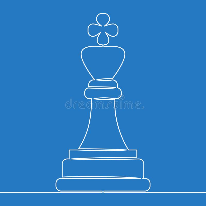 One line drawing Chess king Business concept stock illustration