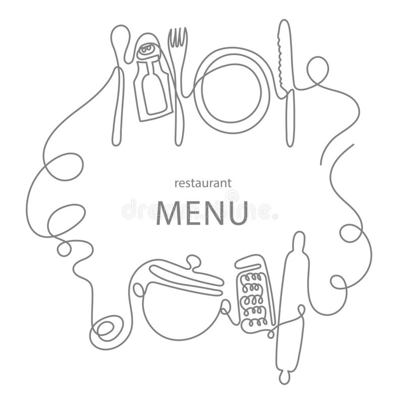 One line drawing concept for a restaurant menu. Continuous line art of knife, fork, plate, pan, spoon, grater, ladles royalty free illustration