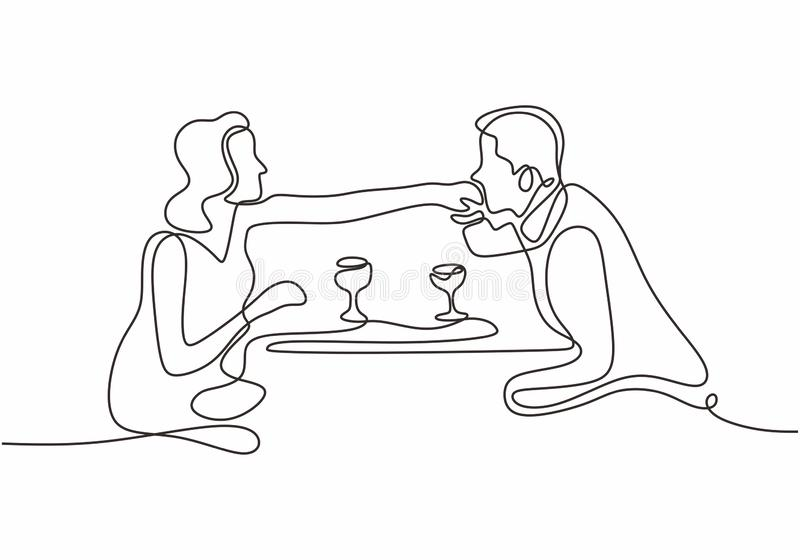One line drawing of couple of man and woman eating. Simplicity style. vector illustration single hand drawn continuous sketch. Design, people, drink, food royalty free illustration