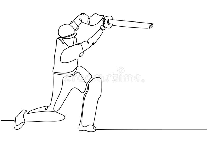One line drawing of Cricket sport player continuous single line art vector illustration minimalism design. Sketch, isolated, silhouette, people, graphic, man stock illustration