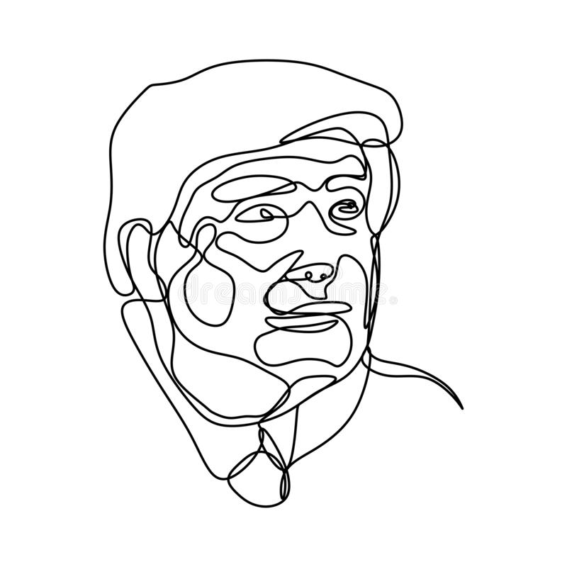 One line drawing of Donald Trump, republican presidential candidate. January 9, 2019. Minimalist continuous lineart. Vector royalty free illustration